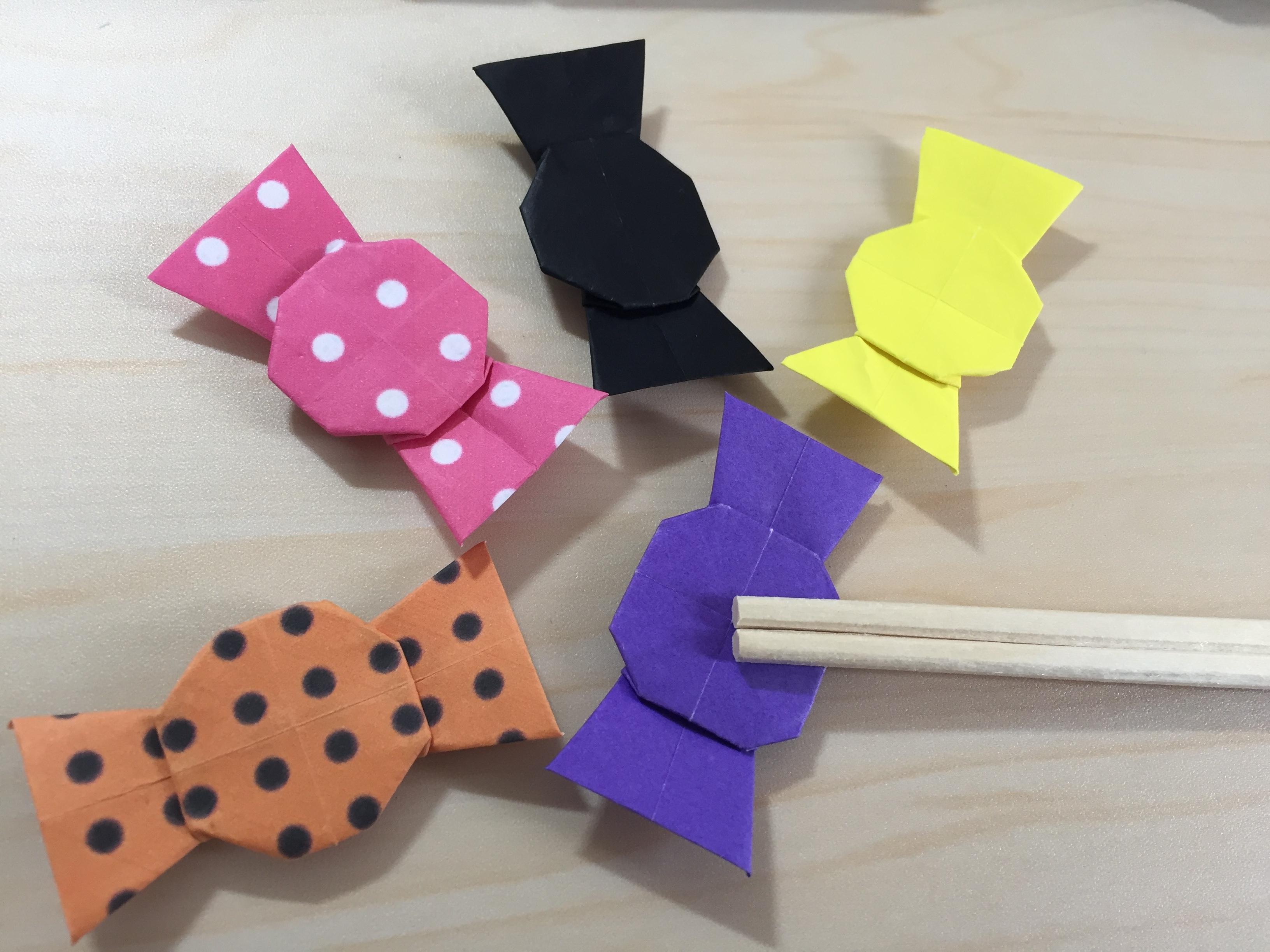 折り紙でキャンディの箸置き