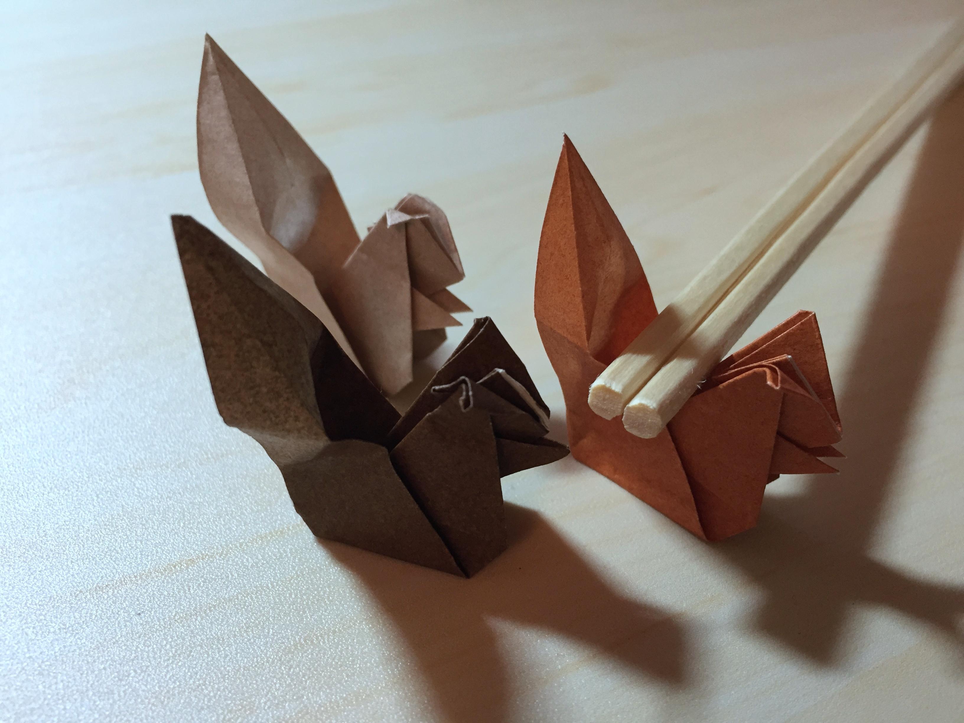 折り紙でリスの箸置きの作り方