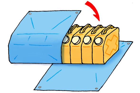 ポリタンクとブルーシートで水のうの作り方