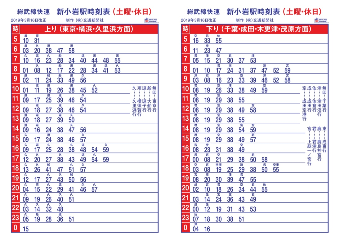 JR総武線新小岩駅 快速 土曜・休日時刻表